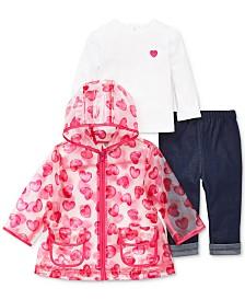 Little Me Baby Girls 3-Pc. Heart-Print Jacket, Top & Jeans Set