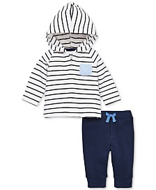 Little Me Baby Boys 2-Pc. Striped Cotton Hoodie & Jogger Pants Set