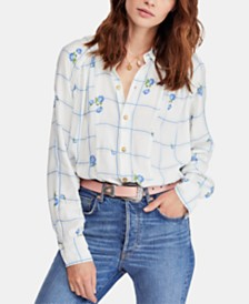 Free People Window To My Heart Printed Blouse