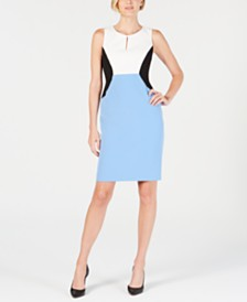Kasper Petite Colorblocked Sheath Dress
