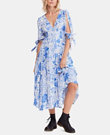 Free People Forever Always Printed Tie-Cuff Dress