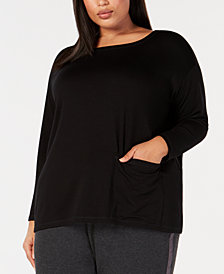 Eileen Fisher Plus Size Tencel Stretch Jersey Pocket Tunic