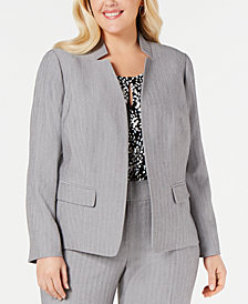 Kasper Plus Size Notched Stand-Collar Blazer