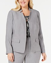 17e0b9354b95a Kasper Plus Size Notched Stand-Collar Blazer