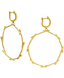 Kesi Jewels Drop Hoop Earrings in 14k Gold