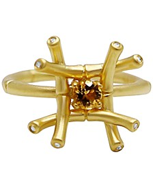 Citrine (1/4 ct. t.w.) & Diamond and White Topaz Accent Ring in 18k Gold-Plated Sterling Silver