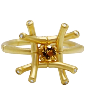 Kesi Jewels Citrine (1/4 ct. t.w.) & Diamond and White Topaz Accent Ring in 18k Gold-Plated Sterling Silver