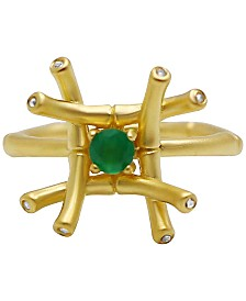 Kesi Jewels Green Agate (1/4 ct. t.w.) & Diamond & White Topaz Ring in 18k Gold-Plated Sterling Silver