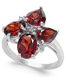 Garnet (4-3/4 ct. t.w.) & Diamond Accent Ring in Sterling Silver