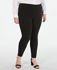 INC Plus Size Jacquard-Dot Slim Pants, Created for Macy's