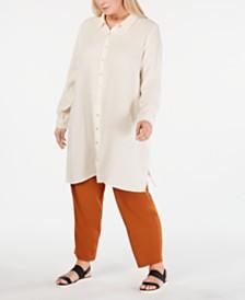 Eileen Fisher Plus Size Cotton Shirtdress & Straight-Leg Pants