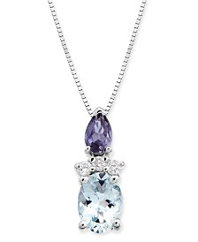 "Multi-Gemstone (9/10 ct. t.w.) & Diamond Accent 18"" Pendant Necklace in 14k White Gold"
