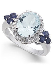 Multi-Gemstone (2-3/4 ct. t.w.) & Diamond (1/4 ct. t.w.) Statement Ring in 10k White Gold