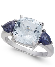 Aquamarine & Iolite Accent (4-3/8 ct. t.w.) Statement Ring in Sterling Silver