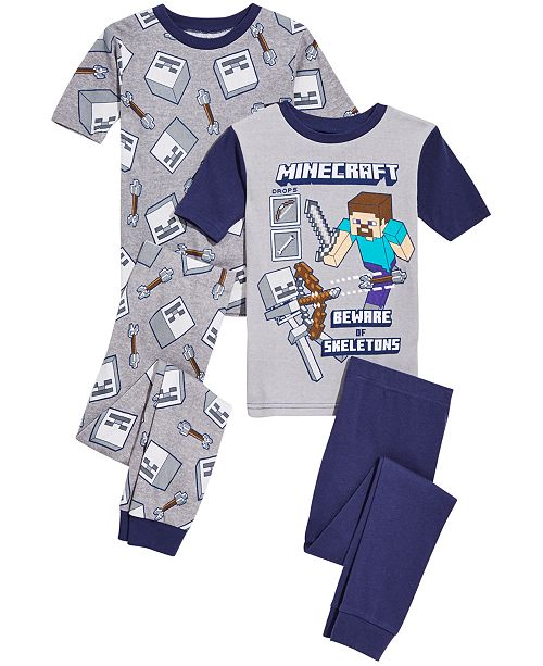 AME Minecraft Little & Big Boys 4-Pc. Minecraft Cotton Pajama Set