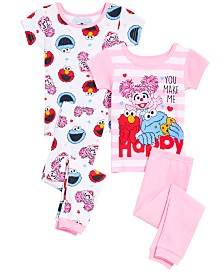 AME Toddler Girls 4-Pc. Sesame Street Cotton Pajama Set