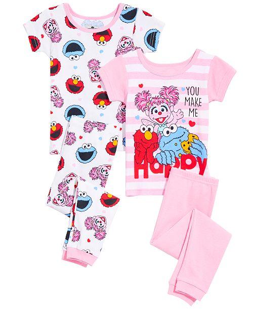 AME Toddler Girls 4-Pc. Sesame Street Cotton Pajama Set