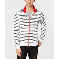 Calvin Klein Men's Full-Zip Stripe Liquid Touch Sweatshirt