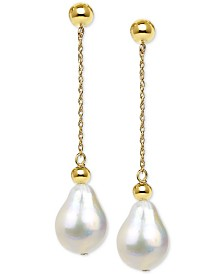 Cultured Baroque Freshwater Pearl (11-13mm) Drop Earrings in 14k Gold