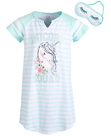 Max & Olivia Big Girls Striped Nightgown & Eye Shade