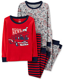 Carter's Little Boys 4-Pc. To the Rescue Cotton Pajamas Set