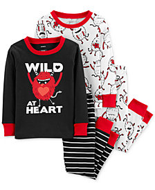 Carter's Toddler Boys 4-Pc. Wild at Heart Cotton Pajamas Set