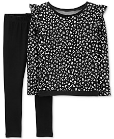 Carter's Little Girls 2-Pc. Floral-Print Top & Leggings Set