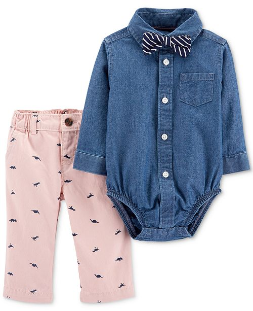 Carter's Baby Boys 3-Pc. Chambray Cotton Bodysuit, Pants & Bowtie Set