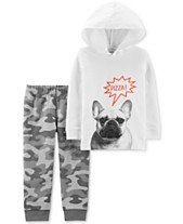 63ea8265c Carter's Baby Boys 2-Pc. French Bull Dog Hoodie & Camo-Print Pants