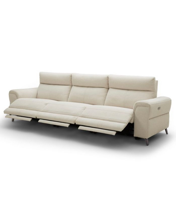 """Furniture CLOSEOUT! Raymere 119"""" 3-Pc. Fabric Sofa with 3 Power Motion & Power Headrests & Reviews - Furniture - Macy's"""