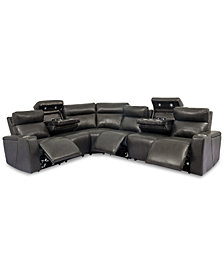 Oaklyn 6-Pc. Leather Sectional Sofa with 3 Power Recliners, Power Headrests, USB Power Outlet & 2 Drop Down Tables
