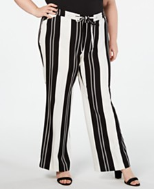 I.N.C. Plus Size Nolita-Stripe Wide-Leg Pants, Created for Macy's