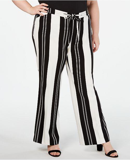INC International Concepts INC Plus Size Nolita-Stripe Wide-Leg Pants, Created for Macy's