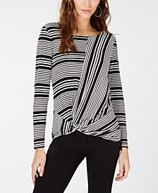 INC Striped Twist Long-Sleeve Top, Created for Macy's