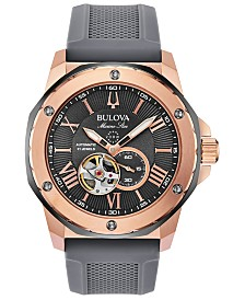 Bulova Men's Automatic Marine Star Gray Silicone Strap Watch 45mm