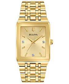 Bulova Men's Modern Diamond-Accent Gold-Tone Stainless Steel Bracelet Watch 30x45mm