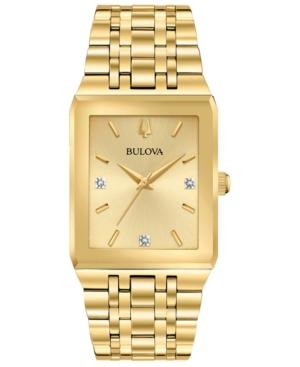 Bulova Watches MEN'S FUTURO DIAMOND-ACCENT GOLD-TONE STAINLESS STEEL BRACELET WATCH 30X45MM