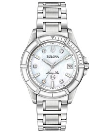 Women's Marine Star Diamond-Accent Stainless Steel Bracelet Watch 34mm
