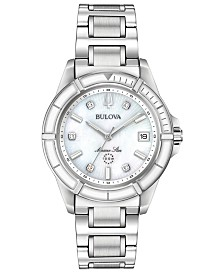 Bulova Women's Marine Star Diamond-Accent Stainless Steel Bracelet Watch 34mm