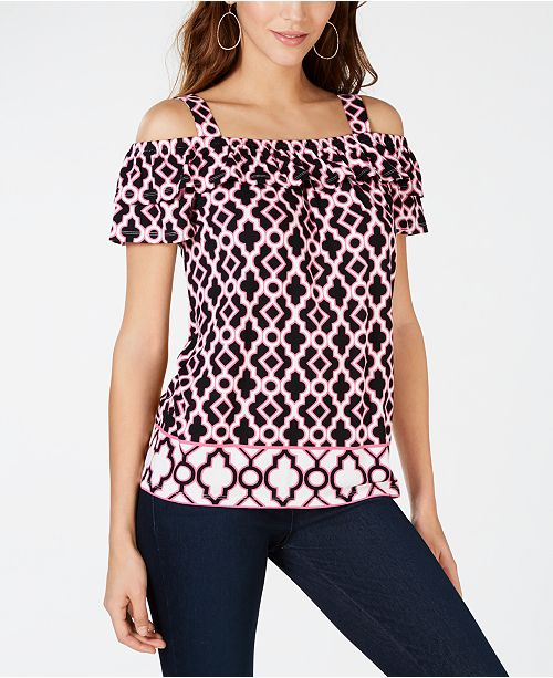 INC International Concepts I.N.C. Printed Cold-Shoulder Top, Created for Macy's