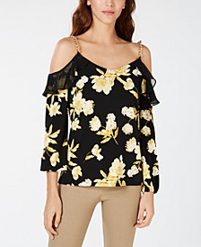 INC Cold-Shoulder Ruffle Top, Created for Macy's