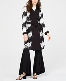 I.N.C. Contrast-Lace Trench Coat, Created for Macy's