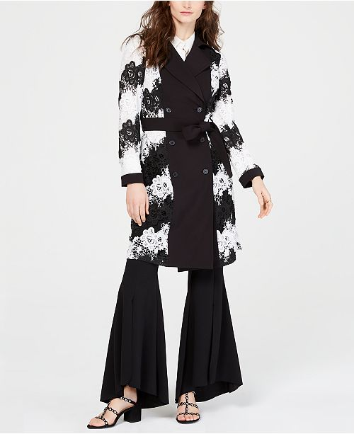 INC International Concepts I.N.C. Contrast-Lace Trench Coat, Created for Macy's