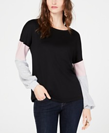 I.N.C. Colorblocked-Sleeve Top, Created for Macy's