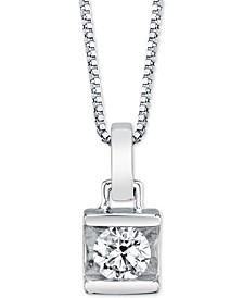 "Diamond (1/4 ct. t.w.) Square-Set 18"" Pendant Necklace"