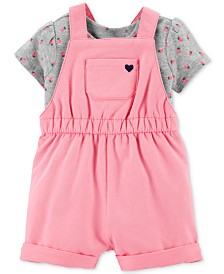 Carter's Baby Girls 2-Pc. Strawberry-Print Cotton T-Shirt & Shortall Set