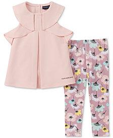 Calvin Klein Toddler Girls 2-Pc. Ruffle Tunic & Floral-Print Leggings Set