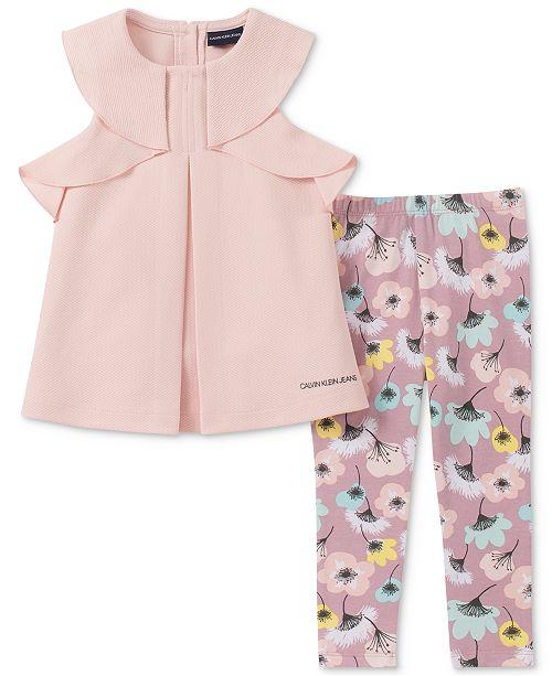 b45a4917e6 Calvin Klein Toddler Girls 2-Pc. Ruffle Tunic   Floral-Print ...