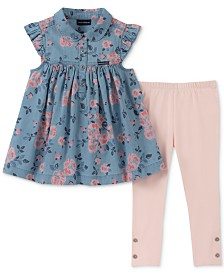 Calvin Klein Toddler Girls 2-Pc. Floral-Print Denim Tunic & Leggings Set