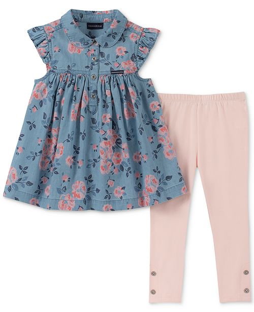 Calvin Klein Little Girls 2-Pc. Floral-Print Denim Tunic & Leggings Set